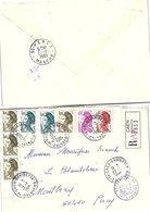 FRANCE - LETTRE RECOMMANDEE CAEN GAMBETTA 22.1.1995  - 8 X  LIBERTE DE GANDON/ 2 - 1961-....