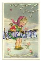 Gelukkig Nieuwjaar. Petite Fille Et Poupée Dans La Neige. Fleurs. Signée GI/bi. JC - Pascua