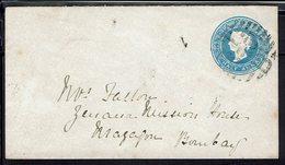 Inde - 1880/99 - Enveloppe Entier Postal Half Anna Bleu Victoria, à Destination De Bombay - B/TB - - Omslagen