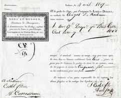 1807 Roulage TOULOUSE-CARCASSONNE - 1 Ballot De Draps - Maison LORE Et DUROUX - Documents Historiques