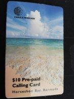 BERMUDA  $10  HORSEHOE BAY BERMUDA    PREPAID CARD  Fine USED New  Logo C&W **1232** - Bermuda
