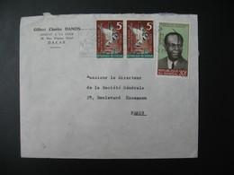 Lettre Thème  Animaux  Oiseaux Et Personnage  Sénégal  Pour La Sté Générale En France Bd Haussmann Paris - Senegal (1960-...)