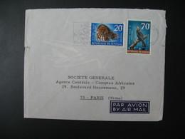 Lettre Thème  Animaux  Oiseaux Et Cigale De Mer  Sénégal  Pour La Sté Générale En France Bd Haussmann Paris - Senegal (1960-...)