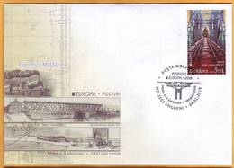 2018 Moldova Moldavie FDC Europa Cept Railway, Railway Bridge, Train, Gustave Eiffel, Train, - 2018