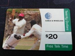 BERMUDA  $20  BERMUDA CRICET MATCH THIN CARD     PREPAID CARD  Fine USED New  Logo C&W **1235** - Bermuda