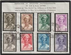 Belgique 1935 / 1936 COB 411 à 418. Exposition Reine Astrid - FDC