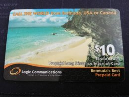 BERMUDA  $10  BERMUDA    LOGIC + INTERNET CARD  BEACH    PREPAID CARD  Fine USED  **1238** - Bermude