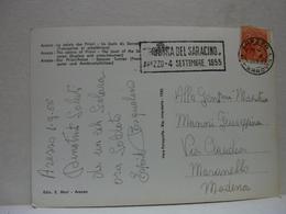 AREZZO     -- ANNULLO A TARGHETTA NERO ---   GIOSTRA DEL SARACINO    --- ECC.. - 6. 1946-.. Repubblica