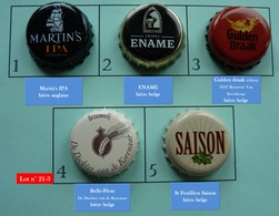 Lot N° 21-3 : 5 Capsules De Bière (parfait état - Pas De Trace De Décapsuleur) - Bière