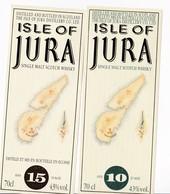 2 étiquettes Whisky Single Malt ISLE OF JURA 10 Ans Et 15 Ans - 2 Whisky Labels Single Malt ISLE OF JURA 10 And 15 Years - Whisky