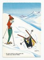 Cpsm Jean Brian Sports D'hiver Ski Humour Cachet Valloire 73 Savoie 1971 - Otros Ilustradores