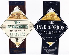 2 étiquettes Whisky Single Grain INVERGORDON - 2 Whisky Labels Single Grain INVERGORDON - Whisky