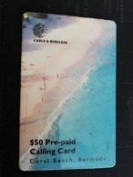 BERMUDA  $50 ,-  BERMUDA   CORAL BEACH BERMUDA ( RRR)     PREPAID CARD  Fine USED  C&W  **1247** - Bermuda