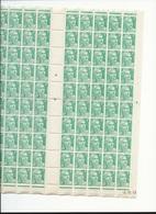 Feuille Complète De  100 Timbres Du N°876 Marianne De Gandon 4f émeraude. - Full Sheets