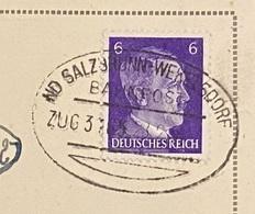 """Braunau - Bahnpost Zug 3765""""ND Salzbrunn - Wekelsdorf""""  28-02-1944 - Ellipsenstempel Mit Kurzsteg Und Segment Unten - Deutschland"""