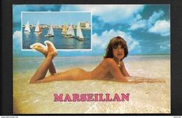Marseillan Plage - CPSM Pin Up Femme Nue Sur Le Sable - Naturisme Nudisme - Marseillan