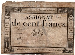Assignat De 100 Francs - 18 Nivose An 3 - état Bien Fatigué - 11 X 15 Cm - Assignats