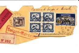 Lettre Indochine Saigon Marseille Recommandé Par Avion 1932 - Viêt-Nam