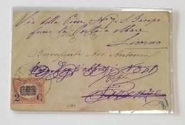 Biglietto Augurale Livorno-Firenze - 01/08/1879 Affrancato Con 0,05 Sovrastampa 2c - 1861-78 Vittorio Emanuele II