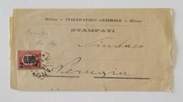 Fascetta Stampati Milano-Perugia - 14/07/1879 Affrancata Con 0,20 Sovrastampa 2c - 1861-78 Vittorio Emanuele II