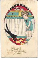 NOUVEL AN ILLUSTRATEUR ??? ENFANT CHAT NOIR SOURIS BLANCHE  BONNE ANNÉE 4384 ETP 1926 - New Year