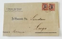 """Corrispondenza """"Il Monitore Degli Impiegati"""" Milano Per Lugo - 17/02/1880 Affrancata Con Due Valori Da 1,00 Sovrast. 2c - 1861-78 Vittorio Emanuele II"""