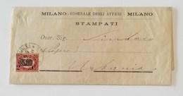 """Corrispondenza Stampati Da """"Giornale Degli Affari"""" Milano Per Urbania - 26/11/1880 Affrancata Con 5,00 Sovrast. 2c. - 1861-78 Vittorio Emanuele II"""