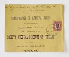 "Busta Aperta ""Corrispondenze Ed Autorevoli Pareri"" Genova Per Livorno Affrancata Con 5,00 Sovrastampa 2c. - 1861-78 Vittorio Emanuele II"