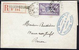 """Fr - 1923 """"Etude De Maitre Pelletier, Huissier à Rouen"""" Merson 60 C Seul Sur Lettre Recommandé En Ville - B/TB - - France"""
