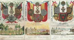 3 CHROMO VETEMENTS AD. GODCHAU DRAPEAU ARMES MONNAIES DECORATIONS1890 - Sonstige
