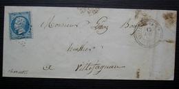 Nanteuil-en-Vallée 1867 GC 2603 Cachet Perlé Sur Enveloppe Allongée Pour Villefagnan (Charente) - Postmark Collection (Covers)