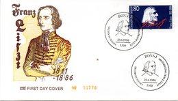 """BRD Schmuck-FDC """"100. Todestag Von Franz Liszt"""" Mi. 1285 ESSt 20.6.1986 BONN 1 - FDC: Sobres"""