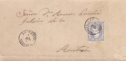 Año 1870 Edifil 107 50m Sellos Efigie Carta  A Renteria Matasellos Lequeito Vizcaya - 1868-70 Gobierno Provisional