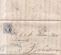 Año 1870 Edifil 107 Efigie Carta Matasellos Rombo Aguilas Murcia  Membrete Manuel Navarro Ruiz - 1868-70 Gobierno Provisional
