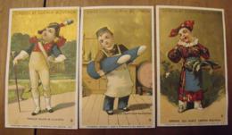 3 Chromos Chocolat Guérin-Boutron, Paris. Chromo Image. Vers 1880-1890. Enfants Fond Doré - Guerin Boutron