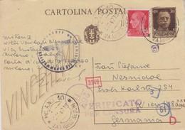 Cartolina Postale Vinceremo Cent. 30 + Cent. 20 Imperiale Per La Germania - Entiers Postaux