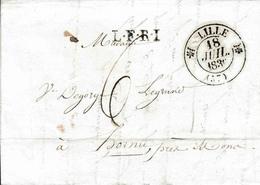 LAC De Lille Vers Hornu Près De Mons 1836 L. F. R. I. Par Menin En Rouge 6 De Port - 1801-1848: Precursors XIX