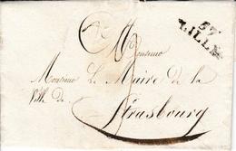 LAC De Lille Vers Strasbourg 1821 Griffe Lille 57 12x25 Mm Noire 9 De Port Cachet De La Ville - 1801-1848: Precursors XIX