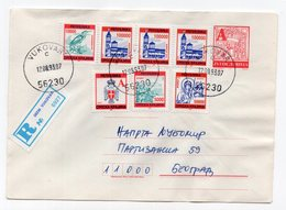 1993 YUGOSLAVIA,CROATIA,VUKOVAR TO BELGRADE,SRPSKA KRAJINA STAMPS,REGISTERED,STATIONERY COVER - Interi Postali