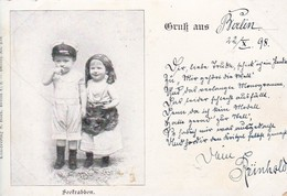 AK Seekrabben - Bub Mit Schiffermütze Und Mädchen In Tracht - Berlin 1898  (48805) - Groupes D'enfants & Familles
