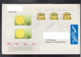 PORTUGAL, R-COVER / PRIORITY, COINS, REPUBLIC OF MACEDONIA ** - 1910-... République