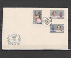 Isle Of Man 1977 Queen Elizabeth II Silver Jubilee Set Of 3 On FDC - Case Reali