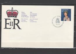 Canada 1977 Queen Elizabeth II Silver Jubilee Stamp On FDC - Case Reali