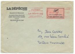 """VIGNETTE """"NE M'OUBLIEZ PAS"""" SUR ENVELOPPE / TOULOUSE POUR TOULOUSE / 1980 / LA DEPECHE - 1961-...."""