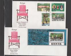 Kenya 1977 Queen Elizabeth II Silver Jubilee Set Of 4 + 2 S/s On 3 FDC - Case Reali