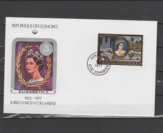 Comoro Islands - Comores 1977 Queen Elizabeth II Silver Jubilee Gold Stamp On FDC - Case Reali