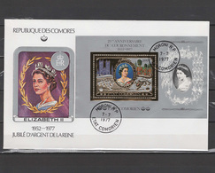 Comoro Islands - Comores 1977 Queen Elizabeth II Silver Jubilee Gold S/s On FDC -scarce- - Case Reali