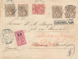 Nederland/ Indië - 1904 - 5x Bontkraag Op R-cover (Roze Strook) Van Scheveningen Naar Moeara Tambesi En L SINDANGLAIJA - Lettres & Documents