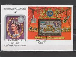 Comoro Islands - Comores 1977 Queen Elizabeth II Silver Jubilee Gold S/s On FDC - Case Reali