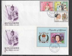 Liberia 1977 Queen Elizabeth II Silver Jubilee Set Of 3 + S/s On 2 FDC - Case Reali